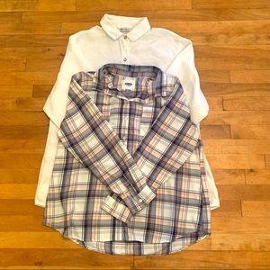 2/$25 - 2 Button-Down Shirts; White & Checked - XL